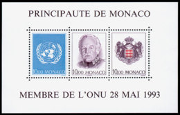 Monaco, 1993, Admission To The United Nations, MNH, Michel Block 60 - Monaco