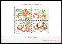 Monaco, 1989, Four Seasons, Pomegranate Tree, Flora, Nature, MNH, Michel Block 42 - Monaco