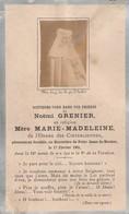 Généalogie : Faire-part Décés - Carte Mortuaire - Mére Marie Madeleine - Cistercienne - ( N. GRENIER ) Maubec 1901 - Décès