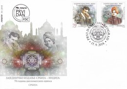 Serbia 2018 Nikola Tesla, Swami Vivekananda, 70 Years Diplomatic Relations Joint Issue With India FDC - Serbia