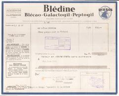 """Facture """" Blédine """" à Villefranche De Fin Juin 1942 - France"""