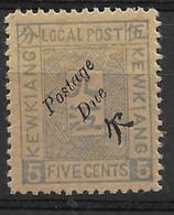 1894 CHINA KEWKIANG POSTAGE DUE -- 5c MINT H CHAN LKD21 $29 - Chine