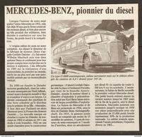 Coupure De Presse - BUS AUTOBUS AUTOCAR MERCEDES BENZ TYPE O 6600 CONTEMPORAIN - Transports