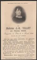 Généalogie : Faire-part Décés - Carte Mortuaire - J.-b. VALLET - Fleurine MEIZEL 1925 - St-étienne : Loire - Décès