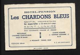 Les Chardrons Bleus Hôtel Pension à Saint Lunaire - Carte De Visite Publicité (No CP) Ille Et Vilaine 35 Bretagne - Visiting Cards