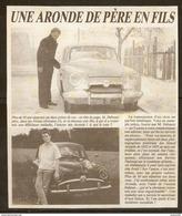 Coupure De Presse - OLD CAR VIEILLE VOITURE SIMCA ARONDE DE PERE EN FILS - IMMATRICULATION ARABE - Cars