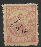 1894 CHINA KEWKIANG POSTAGE DUE -1/2c Red On Yellow UNUSED CHAN LKD28 $32 - Chine