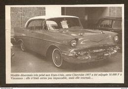 Coupure De Presse - OLD CAR VIEILLE VOITURE CHEVROLET 1957 - Cars