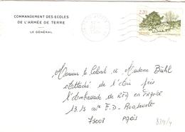 France 1989 - Lettre - Cachet Paris Armée - Commandement Des Ecoles De L'Armée De Terre - YT 2586 - Marcophilie (Lettres)