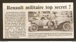 Coupure De Presse - OLD CAR VIEILLE VOITURE TORPÉDO MILITAIRE RENAULT TYPE FE 18 CV POUR L'ARMÉE 1917 - Cars