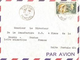 Sénégal 28 Mai 1960 - Lettre Par Avion De Rufisque à Nantes, France - Timbre N° 6 - Fédération Du Mali - Sénégal (1960-...)