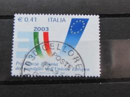*ITALIA* USATI 2003 - PRES ITALIANA CONSIGLIO UNIONE EUROPEA - SASSONE 2695 - LUSSO/FIOR DI STAMPA - 6. 1946-.. Repubblica