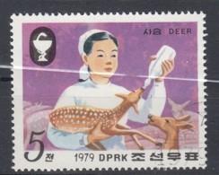 NORTH KOREA 1979. SCOTT 1858. SIKA DEER. BREEDER FEEDING FAWN FROM BOTTLE - Corea Del Nord