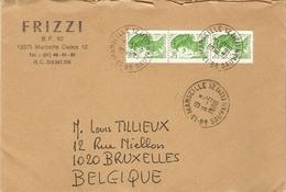 France 1998 - Enveloppe Commerciale FRIZZI (Philatélie) - De Marseille à Bruxelles - Liberté De Gandon 2487 X 3 Se Tenan - Lettres & Documents