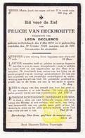DP Felicie Van Eeckhoutte ° Dikkebus Ieper 1878 † 1928 X Leon DeClercq - Images Religieuses