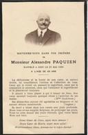 Généalogie : Faire-part Décés - Carte Mortuaire - A. PAQUIEN - 1930  - - Décès