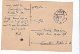 German Feldpost WW2: To Luftwaffen Bau Kompanie 8/VI In Münster P/m Moers 28.8.1942 - Plain Postcard  (G88-41) - Militaria