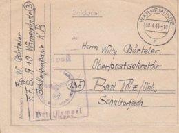 German Feldpost WW2: Flugzeugführerschule A 10 P/m Warnemünde 8.4.1944 - Letter Inside  (G88-41) - Militaria
