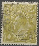 Australia - 1933 King George V 4d Yellow-olive Used   SG 129  Sc 118 - 1913-36 George V : Hoofden