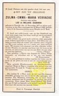DP Zulma E. Vervaeke / Haerinck ° Deerlijk 1877 † 1948 / J. Speybrouck - Images Religieuses