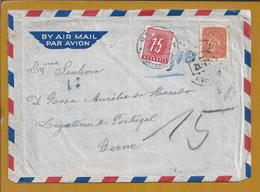 S. Pedro De Nordestinho, Açores. Carta Multada Para Berna, Suiça Expedida Nordestinho 1949. Letter Fined For Bern.3sc. R - Lettres & Documents