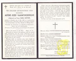 DP Alfons J. VanWynsberghe ° Deerlijk 1868 † 1949 X M. Gheysens / VanDriessche DeGezelle Taelman - Images Religieuses