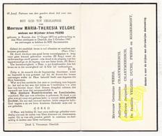 DP Maria Th. Velghe ° Kuurne 1875 † Deerlijk 1947 X Alfons Peers / Craeymeersch Duchi Eggermont - Images Religieuses