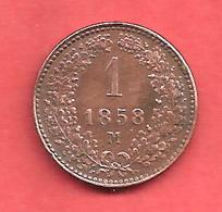 1 Kreuzer , AUTRICHE , Cuivre , 1858 M , N° KM # 2186 - Oesterreich