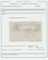 """Précurseur - LAC De Bruxelles 18/1/1844 + Cachet """"Franco Frontière""""(Ship Letter Pr Antwerp / Ligne Privée) Vers London - 1830-1849 (Belgique Indépendante)"""