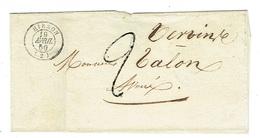 AISNE 02 HIRSON LSC TAD 15 Du 19/04/1850 Taxe 2 Tampon SUP - 1849-1876: Période Classique