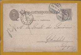 Postal Stationery With Additional From Switzerland. Chatelineau 1879. Châtelet Belgium. Basel Filliale SC. 2sc. - Storia Postale