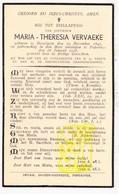 DP Maria Th. Vervaeke ° Desselgem Waregem 1845 † Poperinge 1938 - Images Religieuses