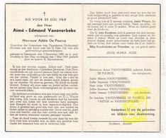 DP Aimé Edm. VanOverbeke ° Desselgem Waregem 1889 † 1949 X A. De Pourcq / Servaeyge VandePopuliere - Images Religieuses