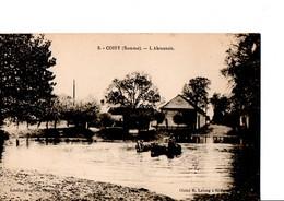 """5. COISY (Somme). - L'Abreuvoir. """"les Chevaux Dans L'eau."""" Edit.Houllier, Buraliste. Cliché R.Lelong. Etat Neuf. SCAN - Sonstige Gemeinden"""