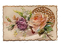 Chromo Gaufrée Découpis Fleurs Roses - Cromos