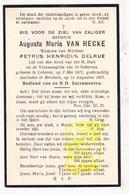 DP Augusta M. Van Hecke ° Lokeren 1871 † Berchem 1927 X Petrus H. Delrue - Images Religieuses