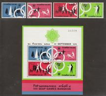 Thailand 1975 2 S/S + 2 X Set Of 4v Stamps, VIII SEAP Games, 2 Series, Prefect Condition. - Thaïlande