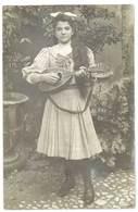 Cpa Carte-photo Jeune Femme à La Mandoline - Musique Et Musiciens