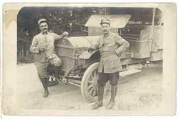 """Cpa Carte-photo 2 Soldats Devant Camion Anglais """" Star """" ( Etoile ) - Matériel"""