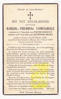 DP Barbara Ph. VandenAbeele ° Geluwe Wervik 1856 † Menen Menin 1939 X P. Bossuyt Xx Alph. DeLeu - Images Religieuses