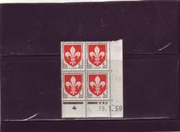 N° 1186 - 5F Blason De LILLE - A De A+B - 2° Tirage Du 19.12.58 Au 30.1.59 - 19.01.1959 - - Coins Datés