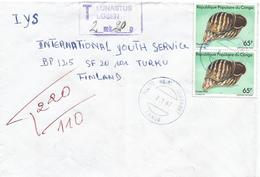 Congo 1987 Pointe Noire Aeroport Giant African Snail Shell Achatina Fulica Underfranked Taxed Cover - Afgestempeld