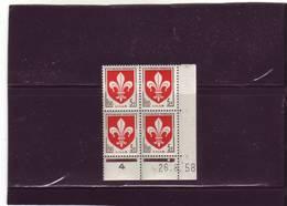 N° 1186 - 5F Blason De LILLE - B De A+B - 1° Tirage Du 22.8.58 Au 5.9.58 - 26.08.1958 - - Coins Datés