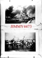 Deux Photos D'un Navire Militaire En Feu Et Coulé - Grande Plaque De Verre - Taille 128 X 178 Mlls - Glass Slides