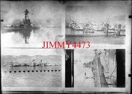 Quatre Photos D'un Navire Militaire En Feu Et Coulé - Grande Plaque De Verre - Taille 128 X 178 Mlls - Plaques De Verre