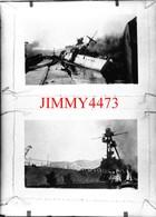 Deux Photos D'un Navire Militaire En Feu Et Coulé - Grande Plaque De Verre - Taille 128 X 178 Mlls - Plaques De Verre