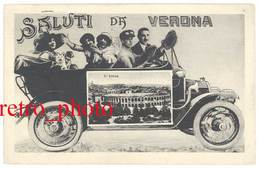 Cpa Italie - Saluti Da Verona ( Automobile - L'Arena ) - Verona