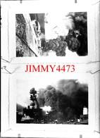 Deux Photos D'un Navire Militaire En Feu Et Coulé - Grande Plaque De Verre - Taille 128 X 178 Mlls - Glasdias