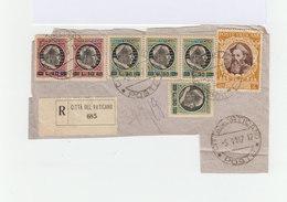 Sur Morceau D'env. R. Timbres Vatican: 6 De Série Courante Surch. Et 1 4 L. Jaune Bistre. CAD Cité Du Vatican 1947. 1021 - Machine Stamps (ATM)