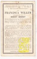 DP Francisca Willem ° Zedelgem 1848 † Ettelgem Oudenburg 1905 X Aug. Bonnet - Images Religieuses